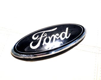 Vintage Ford Truck Emblem Weathered Plastic Oval Blue Emblem Indoor House Home Furniture Dresser Emblem Boys Bedroom Furniture Emblem 9 inch