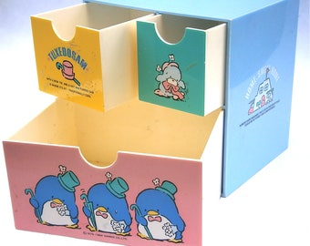 Vintage Sanrio Drawer Organizer Tuxedo Sam Blue Box Organizer Penguin Pastel Container Case Office School Supplies Kawaii Home Sweet Pole