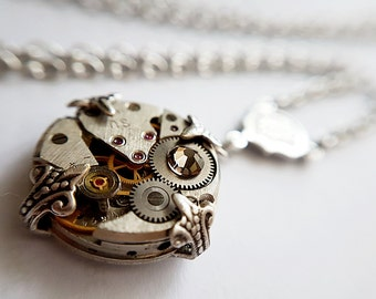 Vintage Inspired Steampunk Petite Pendant - Silver toned Timeless Relic.
