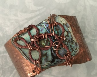 Hammered  Copper Cuff with wired Paua Shell