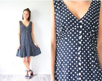 30% OFF VALENTINES SALE Vintage black polka dot dress // polka dot mini ruffle summer dress // button down dress // medium small 1980's dres