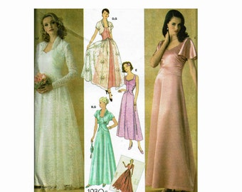 1930s Retro Reprint Evening Dress & Jacket 30s Gown Sizes 16 18 20 22 24 Simplicity 4270 OOP UNCUT Sewing Pattern Reissue