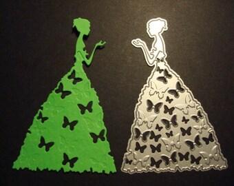 Fustella Principessa 10pz silhouette farfalle, fustellato in cartoncino. Ideale per scrapbooking e decorazioni.
