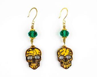 Anatomical Skull Earrings Aqua