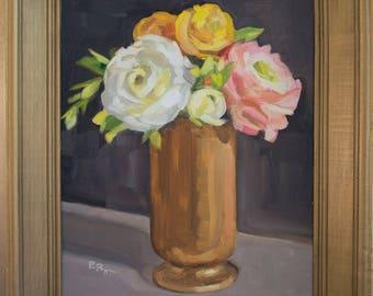 Ranunculus in Gold Original oil painting framed in beveled vintage frame Fine Art flowers