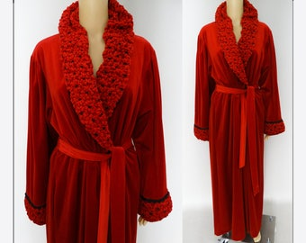 Vintage Red Robe | Designer Robe | Dressing Gown | R. Michael Alan Robe | Long Red Robe | Red Dressing Gown | Vintage Dressing Gown |