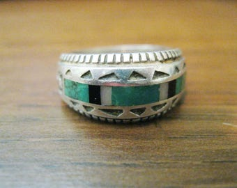 Carol Felley Ring Sterling Silver Turquoise Malachite Onyx Retired QVC Size 7 Free US Shipping