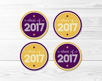 Graduation Round Labels -- Class of 2017, Purple & Gold, School Colors, Graduation Party, 1 Inch, 2 Inch, Printable, Instant Download
