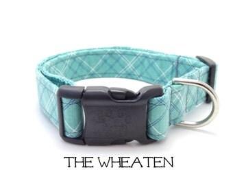 Plaid Dog Collar, The Wheaten, Aqua Dog Collar, Preppy Dog Collar, Cute Dog Collar, Dog Gift, Puppy Gift, Dog Wedding (Leash Available)