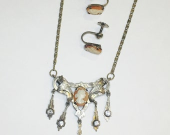 Antique Hand Carved Cameo Set in Hand Tooled Silver Necklace and Earrings Set Genuine 800 Silver