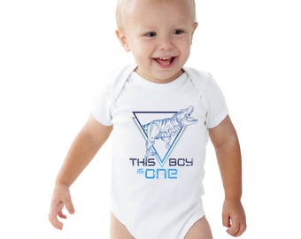 This Boy is Tyrannous Personalized Birthday boy baby bodysuit or Kids Shirt