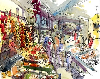 La Boqueria Market , Barcelona - archival print from an original sketch