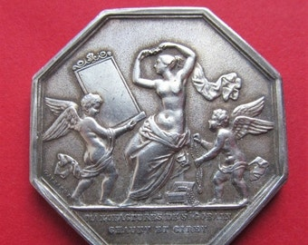 On Sale Antique French Art Medal Angels With A Mirror And Jewels Sterling Silver  SS236