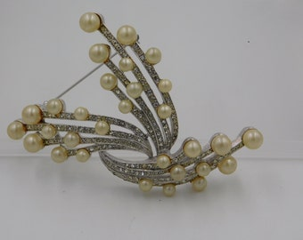 Vintage Large Signed Marvella Faux Pearl and Rhinestone Spray Pin Brooch