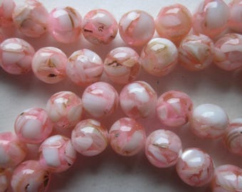Light Pink and White Mother of Pearl Shell and Resin Beads 10mm 18 Beads
