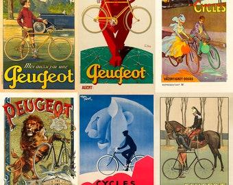 Peugeot Bicycle Posters Set of Six Prints