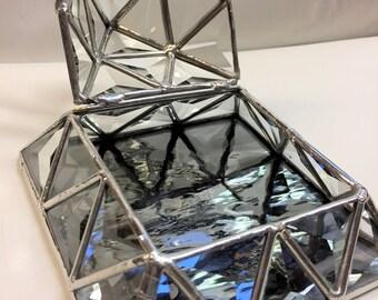 Stained Glass Jewelry Trinket Keepsake Box - Bevel Triangle Pyramid Box (PLG091)