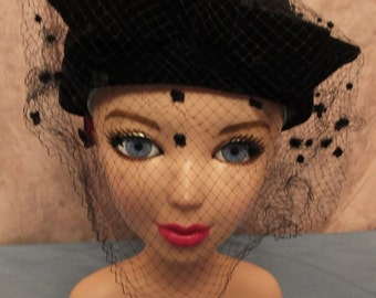 Vintage Black Pillbox Hat With Veil & Black Velvet Bow.