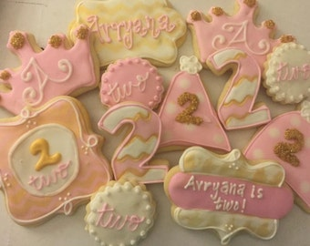 Pink and Gold Birthday Cookies, 1st birthday, pink and gold first birthday, pink and gold baby shower, first birthday, cookie favor, cookie