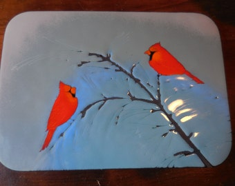 Vintage 1960s to 1970s Metal Wall Hanging Made in Canada by Fabrique Light Blue with Red Cardinal Birds on Branch Retro Decor Woodland