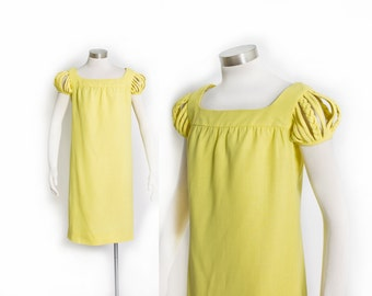 Vintage 60s Dress - Canary Yellow Rayon CAGE SLEEVE Shift Mod 1960s - Small