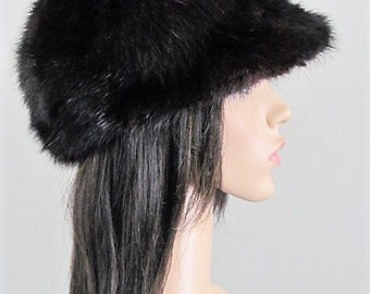 "Vintage Stylish 1970's Black Genuine FUR HAT with Brim by ""FOXY"" Excellent Condition"