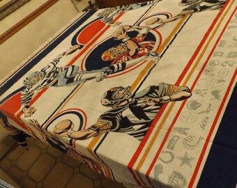 American Football design Twin flat permanent Press sheet or bedspread  .  No holes, no repairs, no stains. Cozy. Gift idea