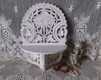 Shabby White, Rustic chic Scroll work, wall shelf, small carved wood, painted vintage