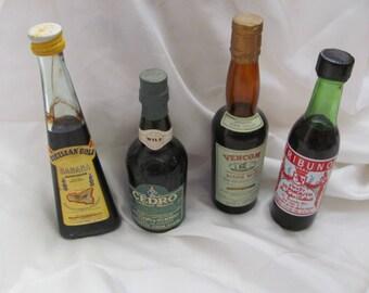 Lot of 4 Vintage Miniature Liquor Wine Bottles Assorted (#02)