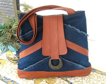 Recycled Leather & Denim Tote Bag - Upcycled in Caramel Brown and Blue