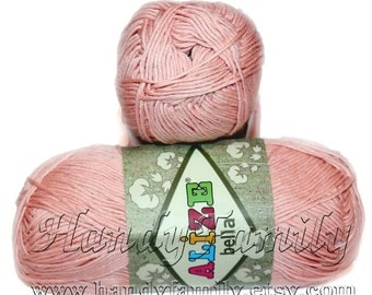 Blush Powder Cotton Baby Yarn, Light Weight, Natural Cotton Alize Bella yarn, in pink  (613)