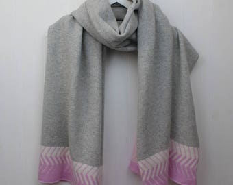 Pink and grey scarf, pink and grey large scarf with chevron pattern, pale pink and grey wrap / shawl, large knitted scarf made in GB
