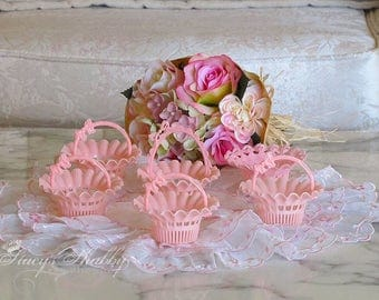 Adorable Petite Vintage PINK Treat BASKETS, Shabby Chic, Bunnies, Pink Baskets, Easter, Bakery, Baking, Altered Art Supplies