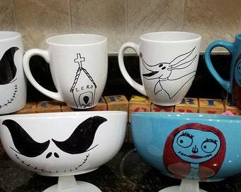 Nightmare Before Christmas inspired ceramic bowls and mugs. Jack Skellington, Sally, Zero