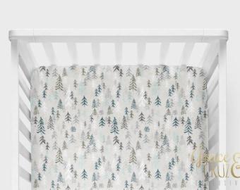 Fitted Crib Sheet -Pine Trees Adventurer Grey + Blues + Aqua // Neutrals