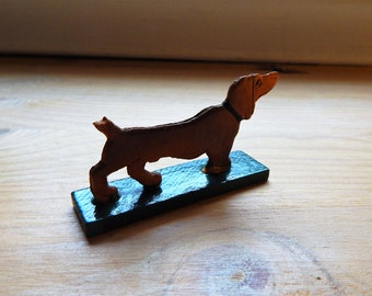 Antique Vintage Erzgebirge Wooden Dachshund Weiner Dog Hand Painted Toy Christmas Putz