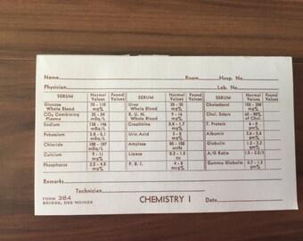 10 Vintage Patient Chemistry Laboratory Forms, Mid Century Medical Ephemera, Bloodwork Results