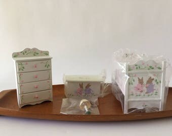 Miniature Nursery Furniture Set, Beatrix Potter, Peter Rabbit Crib, Toy Chest, Dresser and Lamp, Pitty Pat Miniatures, 1:12