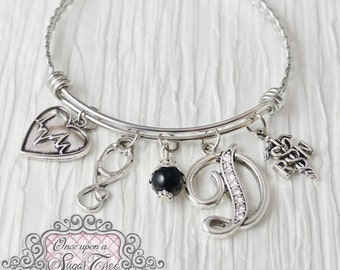RN Graduation Gift, RN Graduate, Medical Theme Charm Bracelet,Stethoscope, Rn jewelry gifts, Bangle Bracelet-Jewelry,College Grad Gift,Nurse
