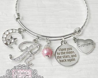 Grandma Gift-I love you to the moon and back again jewelry-Love Bracelet,Personalized Bangle Bracelet- Mother's Day gift, Moon and Stars