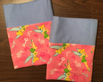 Tinkerbell pillow case set made with100% cotton flannel Standard size available blue cuff