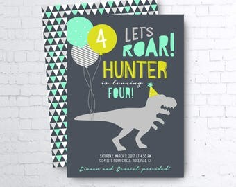 DIY printable Invite: Modern Dinosaur Let's Roar Prehistoric Navy Blue Lime Green Mint Boy Birthday Invitation