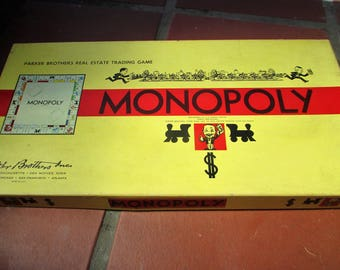 1954 Copyright Monopoly game by Parker Brothers  Yellow box, in good condition
