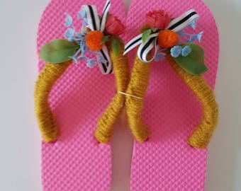 Ladies Pink Flip Flops Crocheted with Gold Yarn Black and White Ribbon and Vintage Flowers