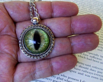 Dragon Eye Pendant (N642) Necklace, Green and Gold Sparkle, Hand Painted Glass Eye, Silver Hardware