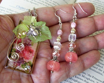 Jewelry Set (S701) Necklace and Earrings, Garden Rose Graphic Under Resin Pendant, Bumble Bee, Crystal Dangles, Silver, Peach and Green