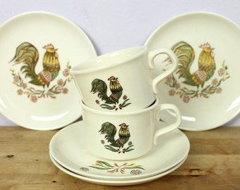 Vintage 1960's TS&T Taylor Smith and Taylor Rooster Tea Cups + Plates Set 6 pc