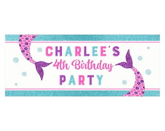 Mermaid Backdrop Banner - Printable or Printed -You Personalize - Pink and Purple Sparkle Mermaid Collection