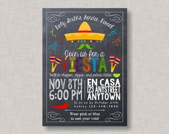 Fiesta Gender Reveal Invitation, Gender Reveal Fiesta Invitation, Fiesta Invitation, Cinco de Mayo, Printable, Gender Reveal, Fiesta