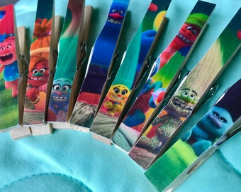 Trolls Birthday Party Favor and Treat Bag clips, Prize, Gift Clothespin Magnets - Set of 8